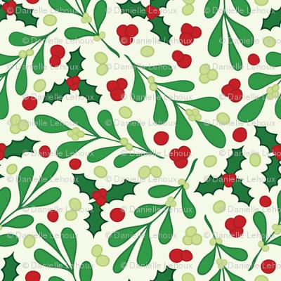 Mistletoe Holly Light Background Wallpaper Lehouxart