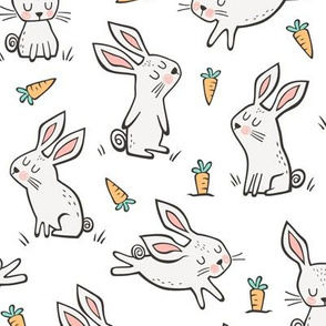 Bunnies Rabbits & Carrots On White