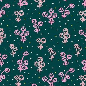 Teal poppy flowers blossom winter garden modern abstract botanical designs pink
