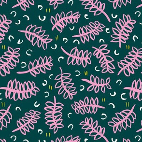 Teal tropical leaves winter garden modern abstract botanical designs pink mint