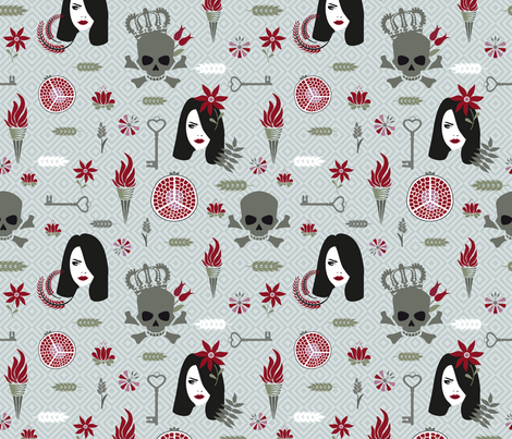Hades and Persephone bright green fabric by colorofmagic on Spoonflower - custom fabric
