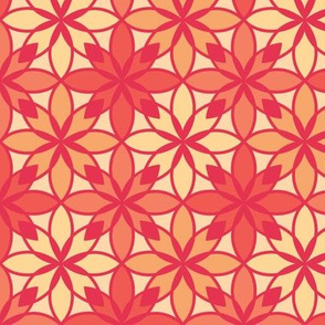 Mosaic Print in Coral, Orange and Yellows