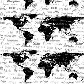 hello world languawhite black