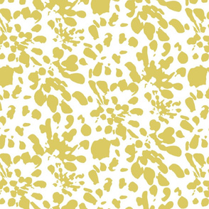 Yellow Gold Spots and Dots Abstract Floral || Green White Flower Large _ Miss Chiff Designs