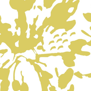 Yellow Gold  Green white Abstract Floral XL Home Decor    Flower Paint  spots dots _ Miss Chiff Designs