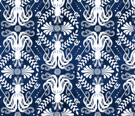 Mythos - Nautical Damask Blue fabric by heatherdutton on Spoonflower - custom fabric