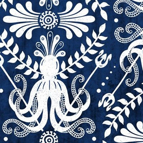 Mythos - Nautical Damask Blue Large Scale