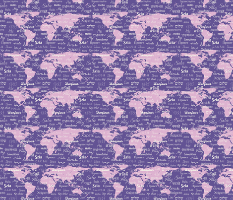 hello world ultra violet lavender fabric by kaldreacollections on Spoonflower - custom fabric