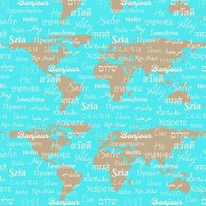 hello world languages aqua tan