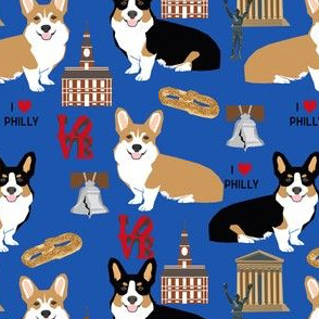 Corgi in Philadelphia fabric - tri corgi cute pet dog philly design
