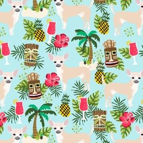 chihuahua tiki fabric - cute island summer tropical design - tiki style
