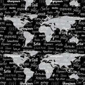 hello world languages black gray