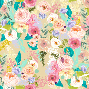 Pastel Garden Spring Floral // Biscuit