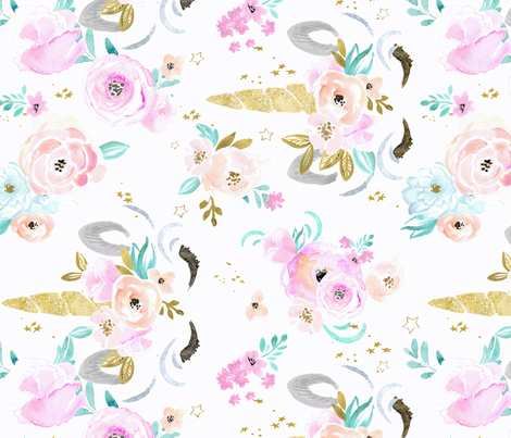 unicorn floral-rotate fabric by crystal_walen on Spoonflower - custom fabric