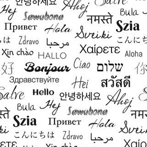 hello languages  white