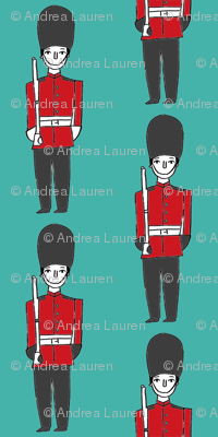 london soldier // palace guards tourist england fabric turquoise