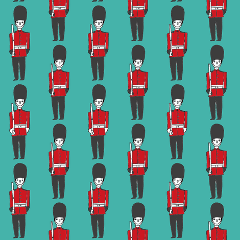 london soldier // palace guards tourist england fabric turquoise fabric by andrea_lauren on Spoonflower - custom fabric
