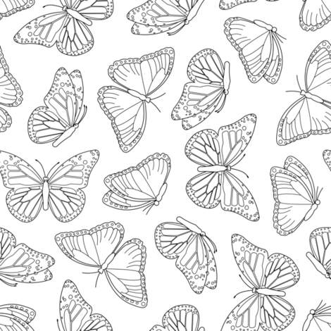 Elegant Butterfly White and Black fabric by jannasalak on Spoonflower - custom fabric
