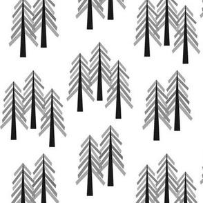 Monochrome Trees - Woodland Forest Tree Grove B