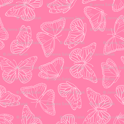 Elegant Butterfly Pink and White