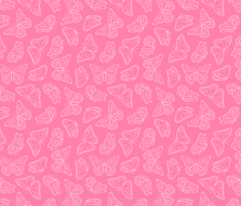 Elegant Butterfly Pink and White fabric by jannasalak on Spoonflower - custom fabric