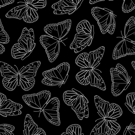 Elegant Butterfly Black fabric by jannasalak on Spoonflower - custom fabric
