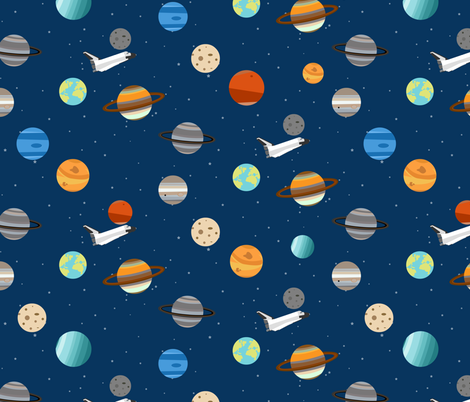 Space Shuttle Planet Exploration fabric by jannasalak on Spoonflower - custom fabric