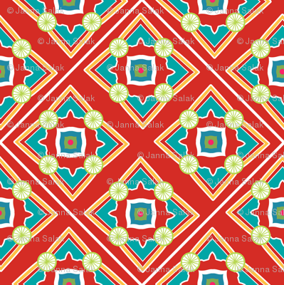 Spanish Tile Red and Persian Green