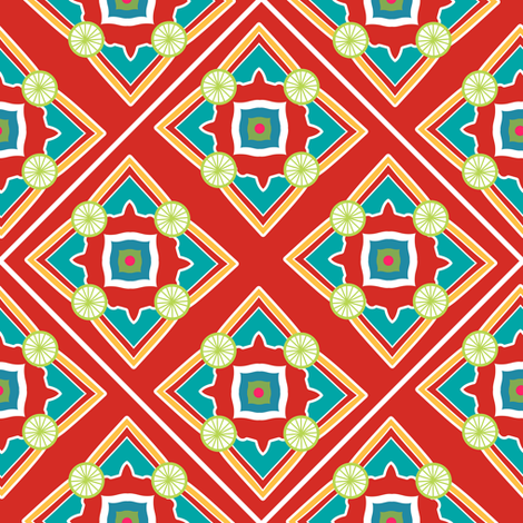 Spanish Tile Red and Persian Green fabric by jannasalak on Spoonflower - custom fabric