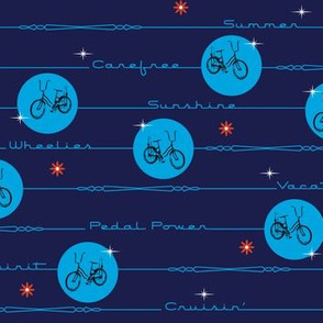 Pedal Power* (Jackie Blue & Sky) || bicycle bicycles typography stars flowers stripes