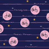 Pedal Power* (Jackie Blue & Pink Cow) || bicycle bicycles typography stars flowers stripes
