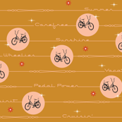 Pedal Power* (Gold Seal) || bicycle bicycles typography stars flowers stripes mustard