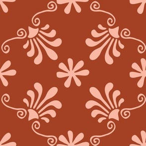 Greek Tile - Pink, Cinnamon