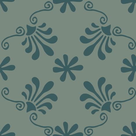 Greek Tile - Teal, Spruce fabric by fernlesliestudio on Spoonflower - custom fabric