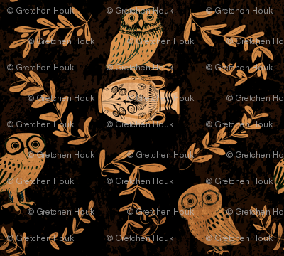 greek owls and olive branches