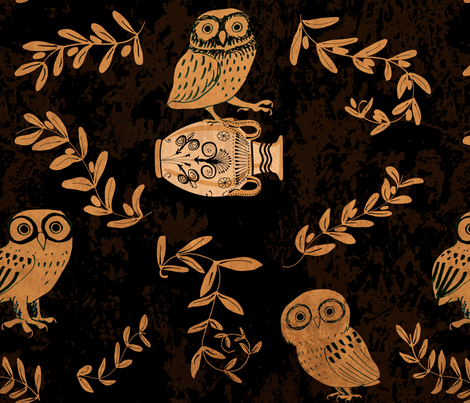 greek owls and olive branches fabric by ghouk on Spoonflower - custom fabric
