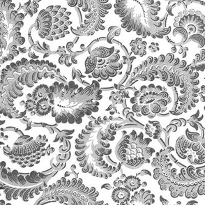 Almack's Blocked Floral ~ Faux Silver