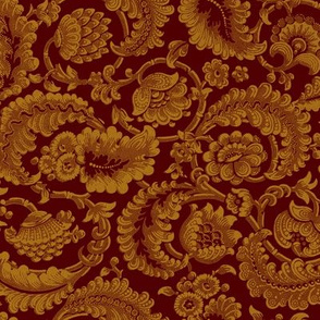 Almack's Blocked Floral ~ Faux Gold on Hampton Court