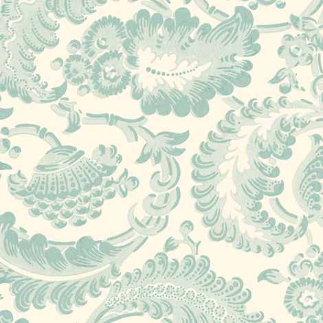 Almack's Blocked Floral ~ Eau de Nil on Cosmic Latte   fabric by peacoquettedesigns on Spoonflower - custom fabric
