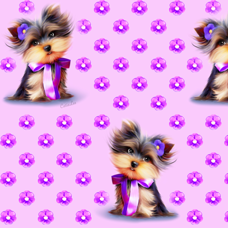 Yorkie Violet pink M fabric by catialee on Spoonflower - custom fabric
