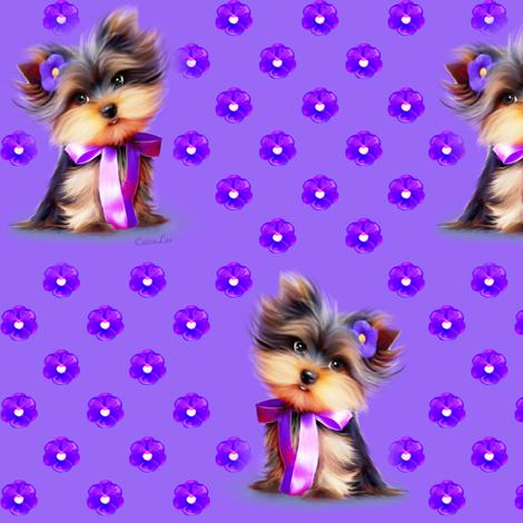 Yorkie Violet purple M fabric by catialee on Spoonflower - custom fabric