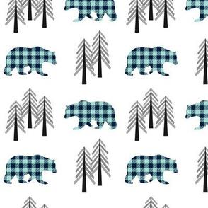 Woodland Bears & Trees – Navy + Mint Plaid Bear Buffalo Plaid Check Forest Baby Boy Nursery Bedding