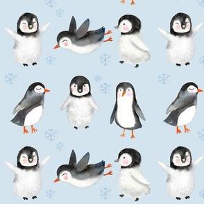 Winter Penguins // Small // Light Blue