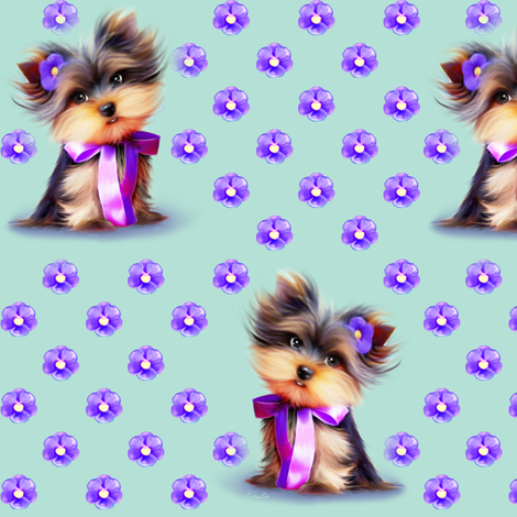 Yorkie Violet turquoise M fabric by catialee on Spoonflower - custom fabric