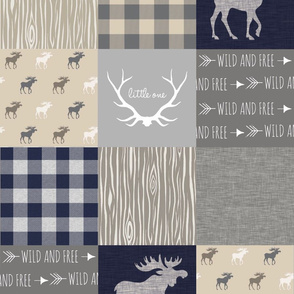 Moose Little One Quilt - Navy, tan and grey