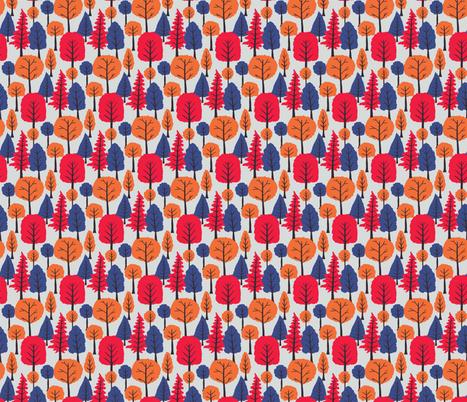 Bright retro Trees fabric by onelittleprintshop on Spoonflower - custom fabric