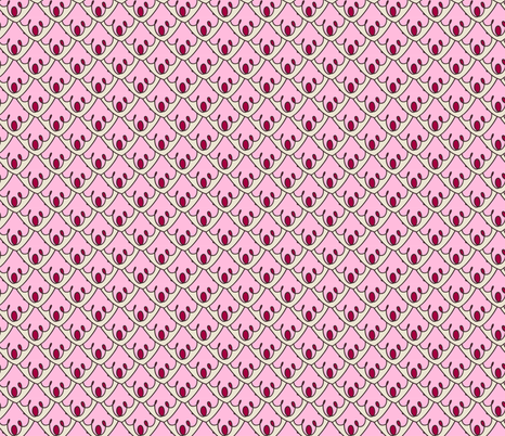Pink decorative scallops fabric by onelittleprintshop on Spoonflower - custom fabric