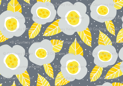 Grey and yellow retro flowers