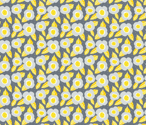 Grey and yellow retro flowers fabric by onelittleprintshop on Spoonflower - custom fabric