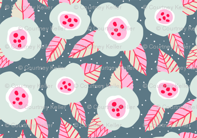 Grey flowers with pink
